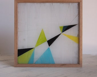 Geometry I - Hand Painted Scandinavian Nordic Geometric Triangle Mid Century Art | Framed with Tasmanian Oak Natural | Blue Green Yellow