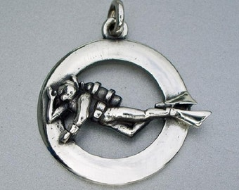 SCUBA diver necklace , silver diving pendant.