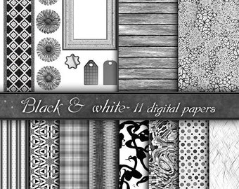 Digital Paper, backgrounds  black & white