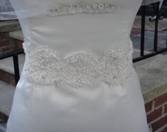 Beautiful Lace and Beading Bridal Belt, Sash.