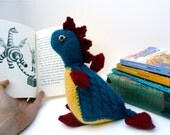 Dragon Plush: cute knit stuffed animal in red, yellow and blue. Unique kid's gift