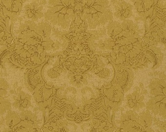 Wallpaper By The Yard - Antiqued Delicate Tracery Lacey Gold Damask - Aged, Victorian, Tone on Tone - SM8498