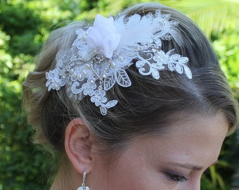 Couture Bridal Fascinator, Designer Wedding Hair piece, Beaded Lace Bridal Headwear, ANDREA