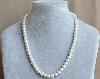 pearl Necklace,8mm glass pearl Necklace,Wedding Necklace,bridesmaid necklace,Jewelry,ivory glass pearl necklace,gift,8mm pearl necklace