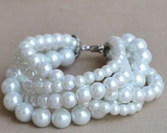 Pearl Bracelet,white pearl Bracelet,5 rows glass Pearl Bracelet,Wedding Bracelet,Bridesmaid Bracelet,weddingJewelry,Maid of honor jewelry