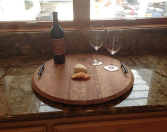 Wine barrel top srving tray.