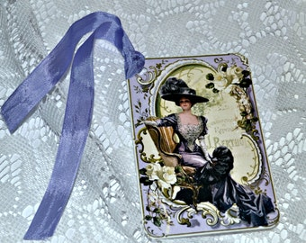 Victorian Lady in Purple Tags, Set of 8 Gift Tags, Vintage Gift Wrap, Tags with Vintage Ribbon