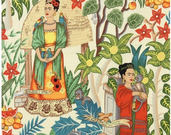 Frida's Garden 100% Cotton Fabric, tan background by Alexander Henry