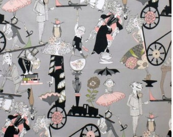 A Ghastlie End Alexander Henry Grey / Smoke Background 100% Cotton Fabric