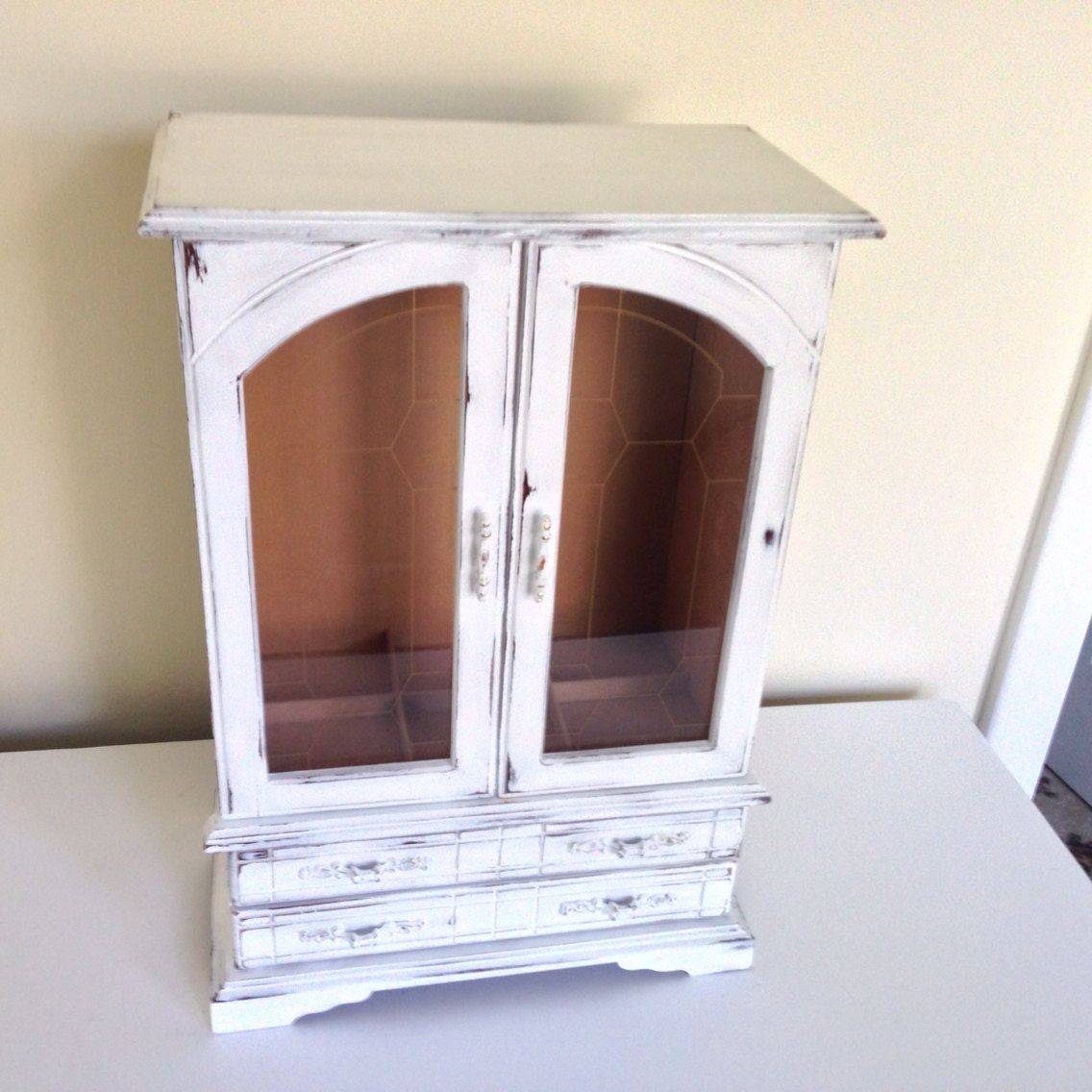 large shabby chic jewelry armoire vintage white by. Black Bedroom Furniture Sets. Home Design Ideas