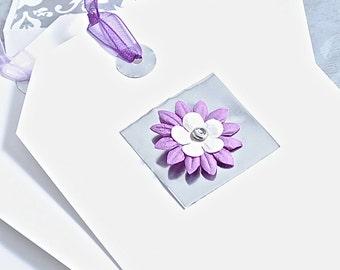 Handmade Notecards of Layered Flowers, Box Set of 8