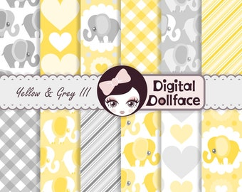 Yellow Elephant Baby Shower, Digital Paper Pack, Scrapbook Paper
