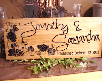 Personalized Anniversary Gift Vineyards Wooden Sign Wine theme Bridesmaid Gifts Wedding Gift Established Signs Wine Grapes vineyard