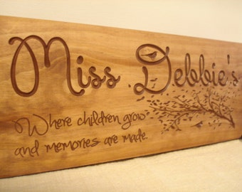 Custom Wooden Sign for daycare provders teachers babysitters Plaque House Number Sign Custom Signs Personalized Signs