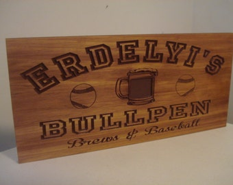 Custom Bar Sign, Baseball theme,Wooden Carved MANCAVE Sign, Beer Mug, GROOMSMAN Gifts, Fathers Day Gifts, Sports theme Benchmark Signs Gifts
