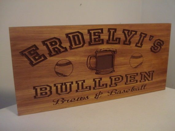Man Cave Signs Wooden : Personalized wood carved bar sign man cave beer theme baseball