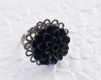 Black Ring, Black Flower Ring, Flower Ring, Black Mum Ring, Mum Ring, Gunmetal Ring, Adjustable Ring, Bridesmaids Gift, Wedding Jewelry