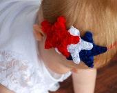 Red White and Blue Star Headband, Military Homecoming, 4th of July, Military Ceremony,  Patriotic Headband, hair bows, baby headband