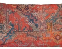 Ethnic Rug Red Throw Pillow Cover Rectangle Kilim Morrocco Oriental Style Printed Cotton Cushion Cover Fabric Rusty Orange