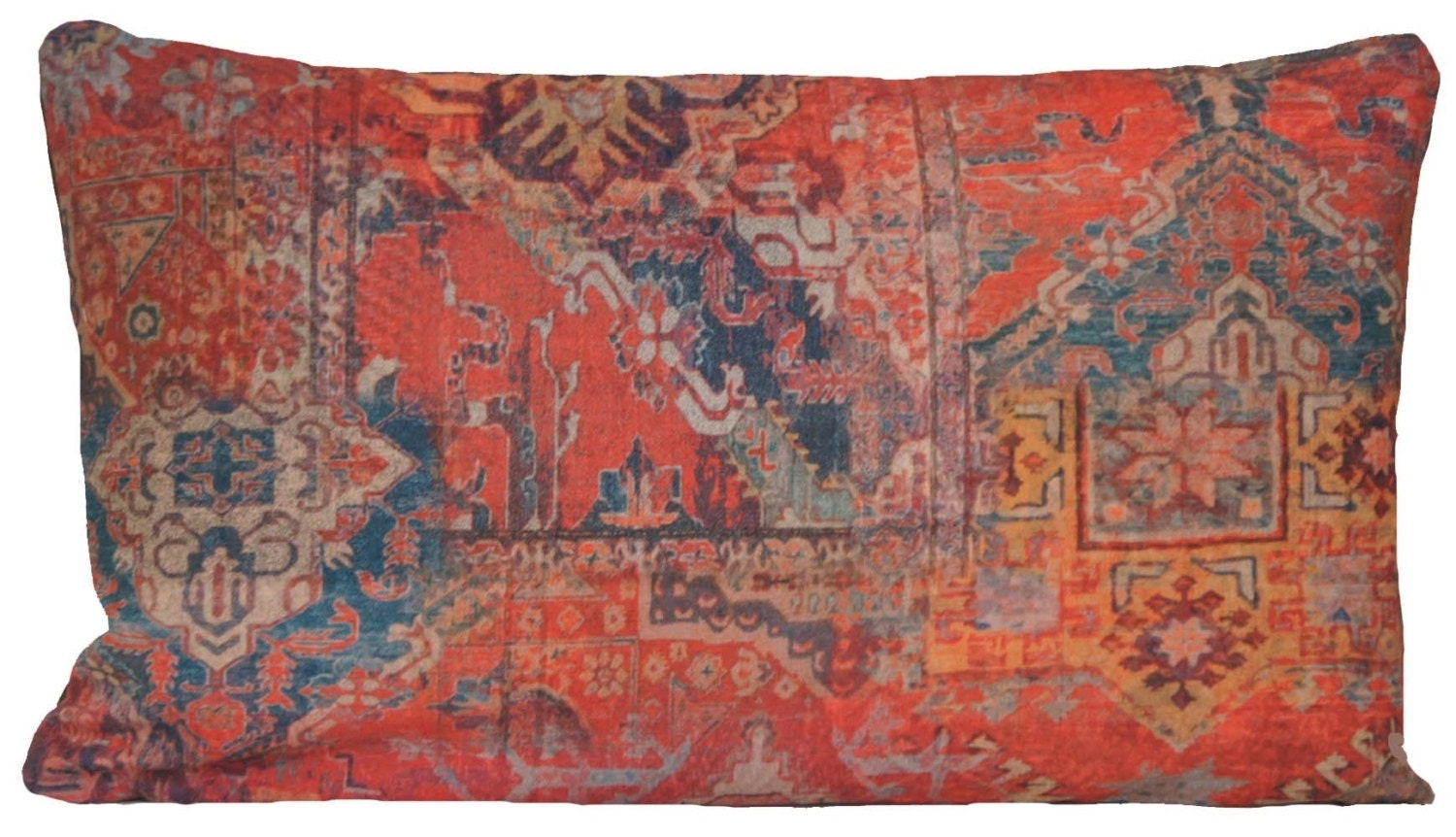 Ethnic Rug Red Throw Pillow Cover Rectangle Kilim Morrocco