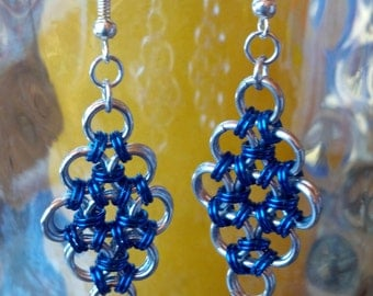 Blue and silver Japanese Lace chainmaille earrings