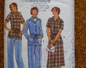 1970's Misses' Jacket, Skirt and Pants Butterick Sewing Pattern 5912 Size 14