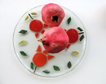 Fused glass plate,painted fused plate,round fused  plate,painted pomegranate plate,Holiday gift,gift for home,Jewish gift