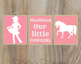 COWGIRL Nursery Art - Horse Nursery Art, Cowgirl Nursery Decor, Girls Nursery, Playroom Wall Art, Children Wall Art, Cowgirl Print