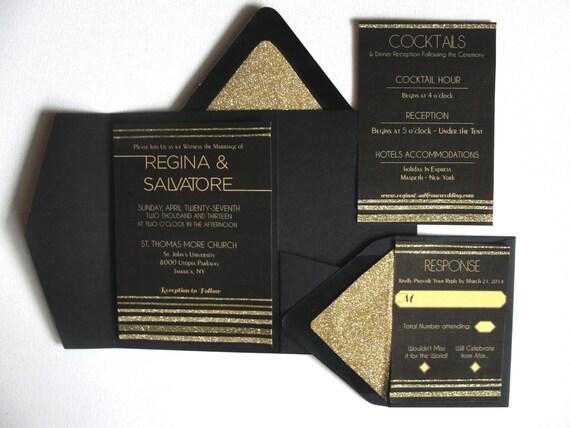 Retro Stripe Glitter Wedding Pocket Fold Set Black Amp Gold