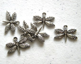 6 Silver Butterfly Charms