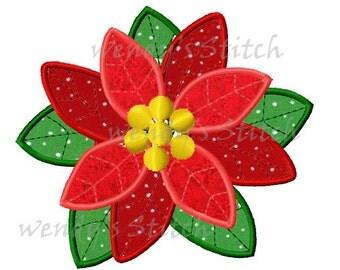 Christmas poinsettias flower applique machine embroidery digital design