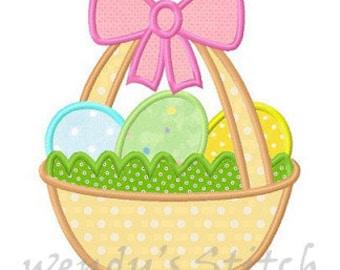 Easter basket egg applique machine embroidery design digital pattern