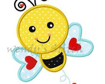 Valentine love bee applique machine embroidery design digital pattern