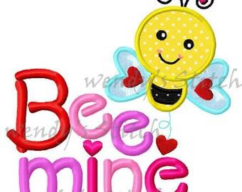 Valentine love bee be mine applique machine embroidery design digital