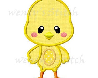 Easter chick applique machine embroidery design digital pattern