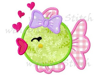 Girly love fish applique machine embroidery design digital pattern instant download