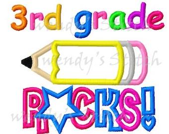 3rd grade rocks school pencil applique machine embroidery design