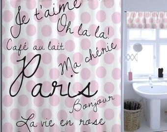 Fashion Extra Long Shower Curtain, Pink Paris Shower Curtain, Polka Dot Shower  Curtain,