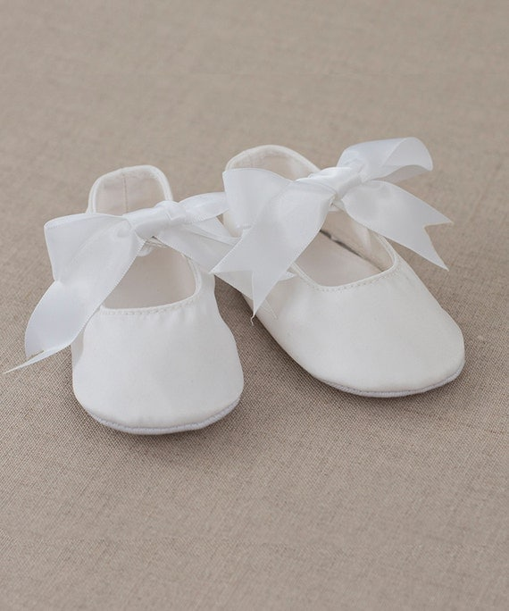 Baby Shoes White Satin Mary Jane Prewalkers Booties Baby Girl