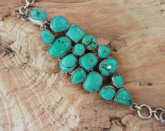 NATURAL TURQUOISE BRACELET Set In Sterling Silver,Gorgeous!!