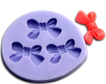 3 Cavity Bowtie Bowknot Polymer Clay Mold Flexible Silicone Mould For Handmade Soap Candle Candy Cake Fimo Resin Crafts stampi per resina