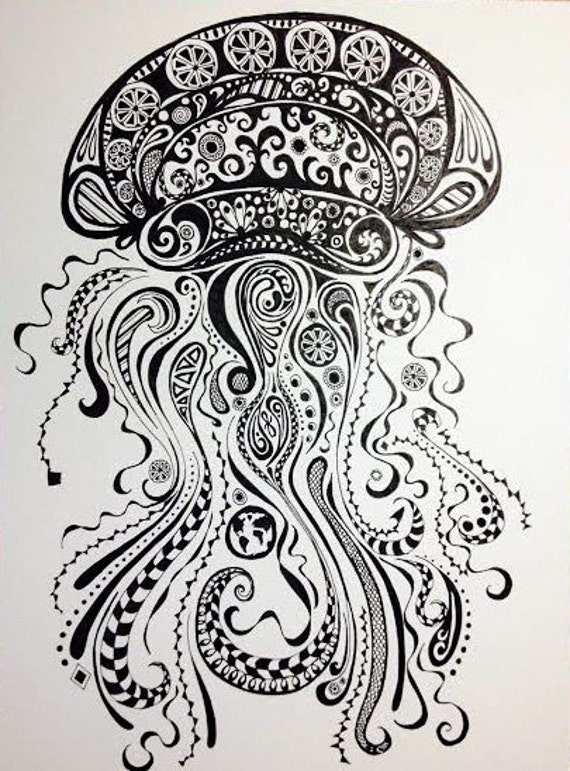 Items similar to Abstract Jellyfish- Ink and Pen Drawing ...