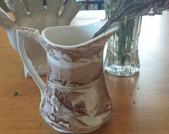 Brown Transfer ware Beverage Pitcher Made in England