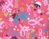 Pink Ribbon Casual Woven Fabric, Valentine's Day, Yardage F2033