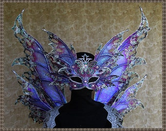 Adult Fairy Wings**Iridescent Lavendar/Purple/Pink/Green/Silver Wings & Mask**FREE SHIPPING**Costume/Masquerade/Cosplay/Weddings