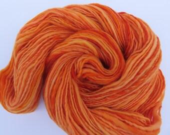 Handspun Yarn - Pumpkin Handspun Yarn - Orange Handspun Yarn