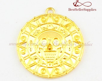 10 PCS, Pirates of the Caribbean, Aztec Gold Coin, Cursed Pirate Doubloon Charms, Mysterious Pendants, Double Sided, DIY Supplies, 40*40MM