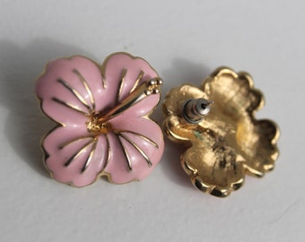 Pink flower button earrings