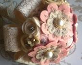 Bridesmaid  'Very Vintage' felt flower bouquets