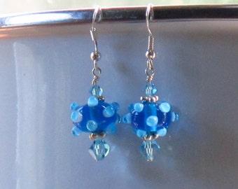 Bumpy Blue Dangle Earrings